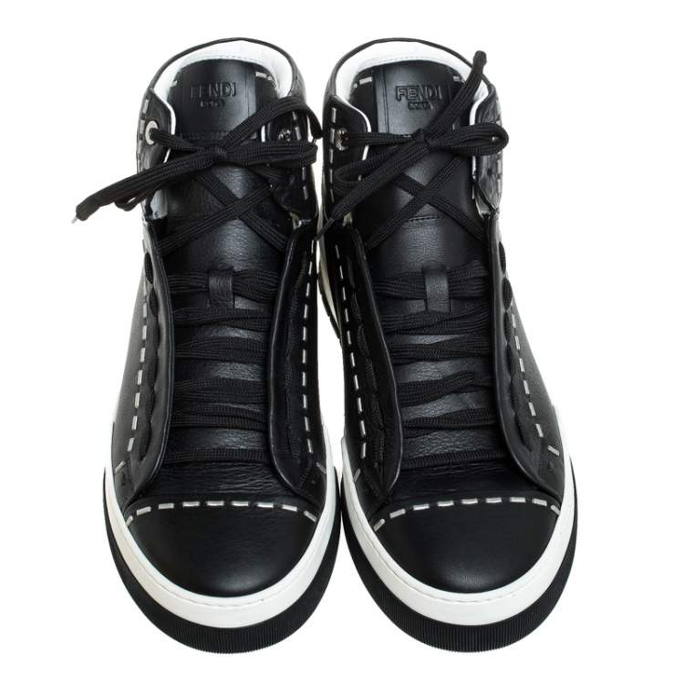 Fendi Black/White Leather Lace Up High Top Sneakers Size 43