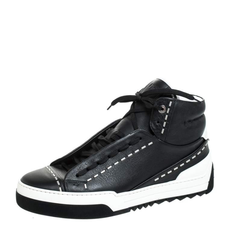 Fendi Black/White Leather Lace Up High