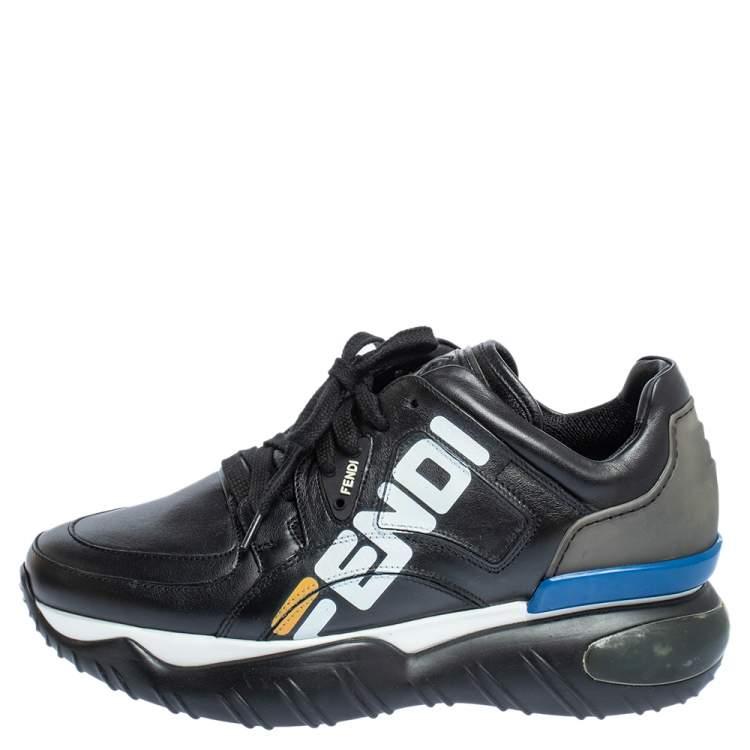 aprender Meandro Terminología  Fendi Black Leather And Rubber Fendi-Fila Mania Logo Low Top Sneakers Size  40 Fendi | TLC