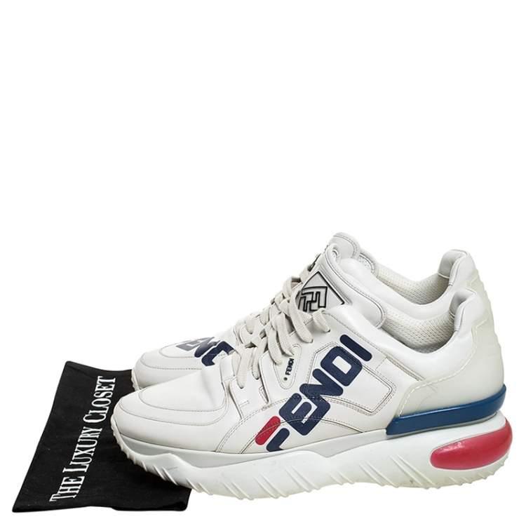 repetición elegante Corte de pelo  Fendi White Leather And Rubber Fendi-Fila Mania Logo Low Top Sneakers Size  45 Fendi | TLC