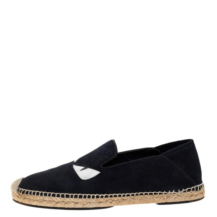 Fendi Navy Blue Suede Monster Eyes Slip On Espadrilles Size 41
