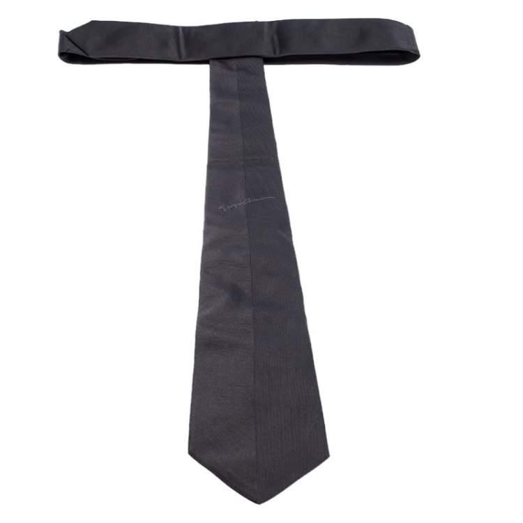 Giorgio Armani Dark Grey Pinstripe Tonal Pattern Silk Jacquard Classic Tie