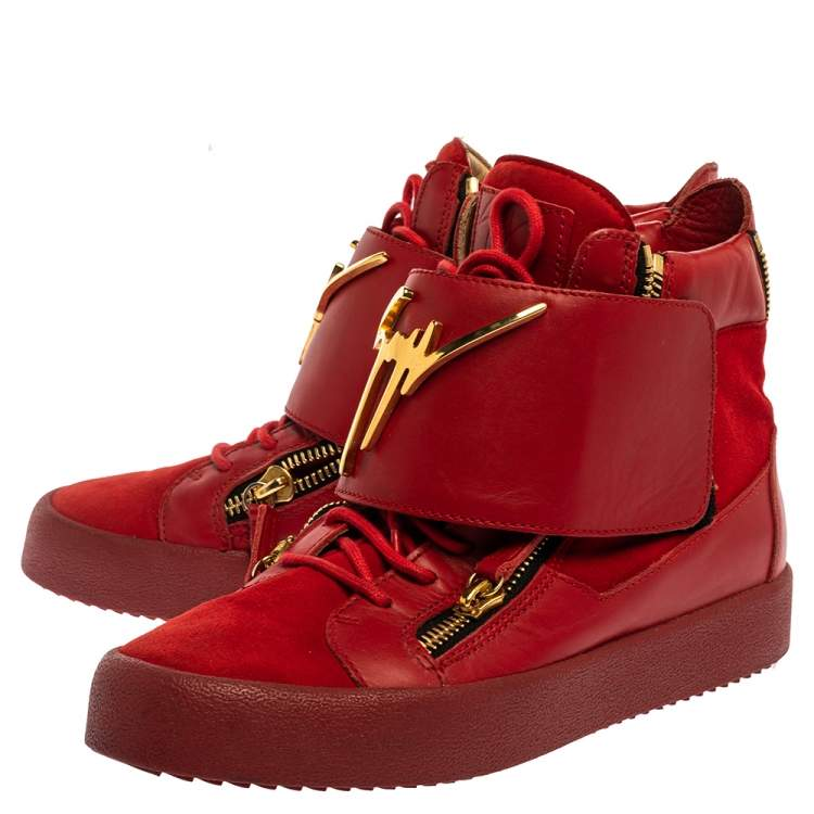 Giuseppe Zanotti Red Suede And Leather