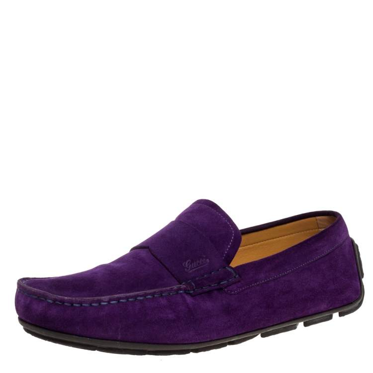Gucci Purple Suede Leather Slip On