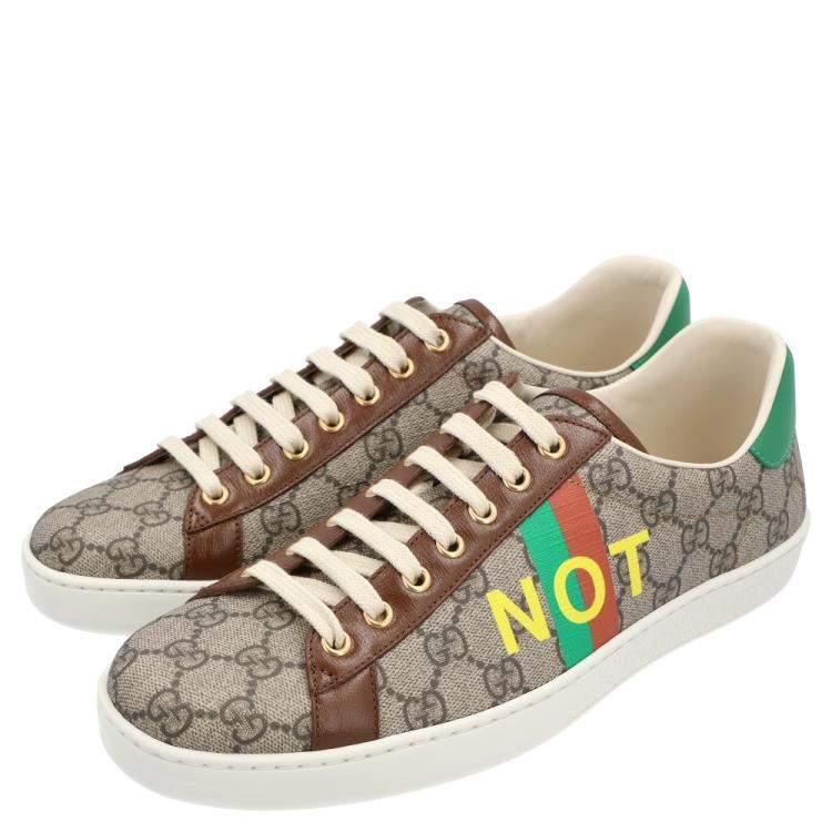 حذاء رياضي غوتشي ايس مطبوع فايك/نوت كانفاس جي جي بني و بيج مقاس أوروبي 40