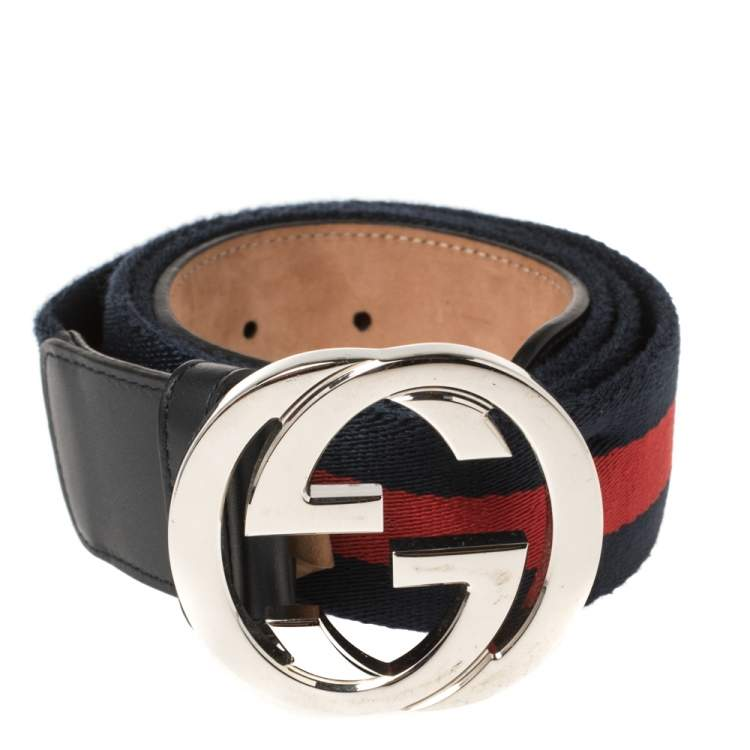 Gucci Blue/Red Web Canvas and Leather Interlocking GG Buckle Belt 100CM