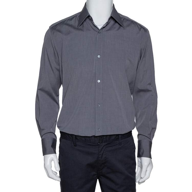Gucci Dark Grey Cotton Button Front Shirt M