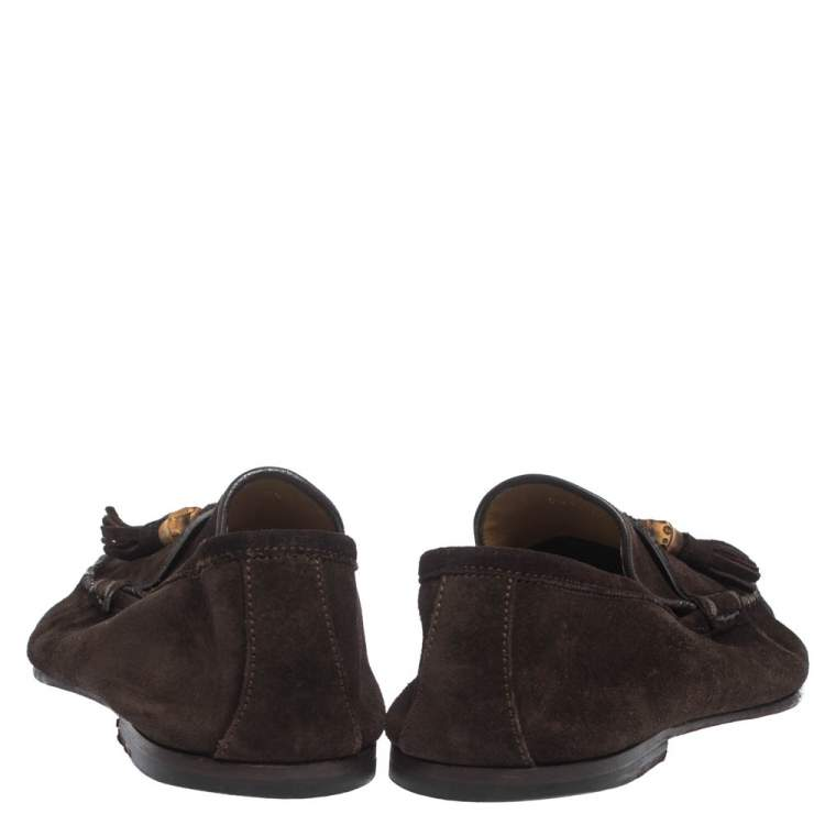 Gucci Brown Suede Leather Bamboo Tassel Slip On Loafers Size 43.5