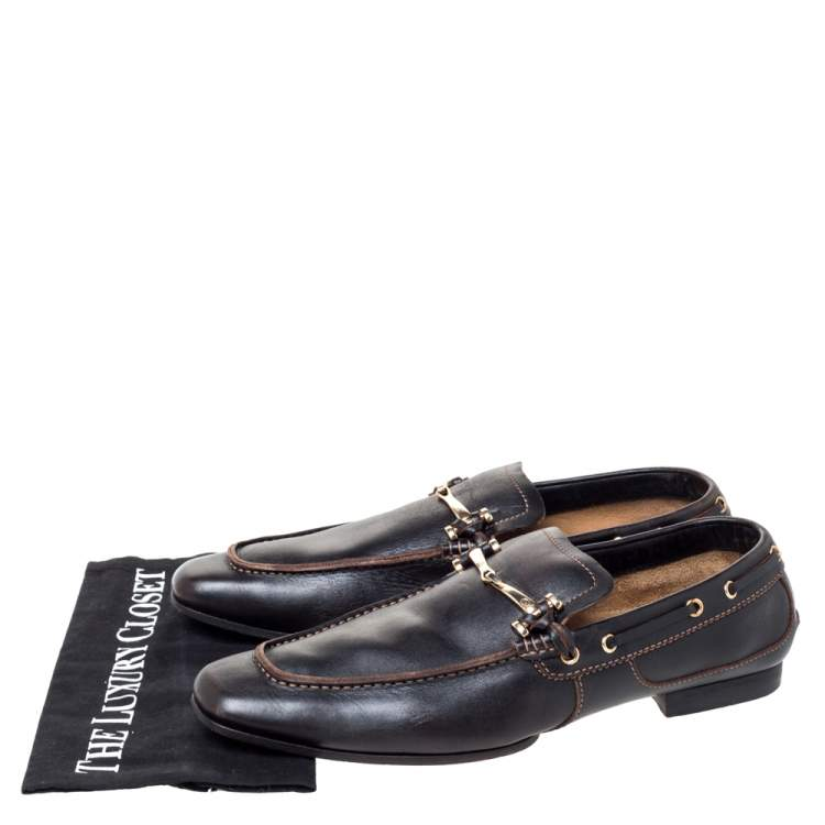 black leather horsebit loafers
