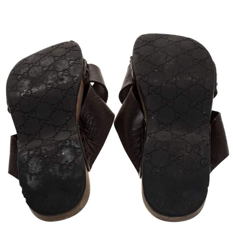 Gucci Brown Guccissima Leather Slide Sandals Size 43