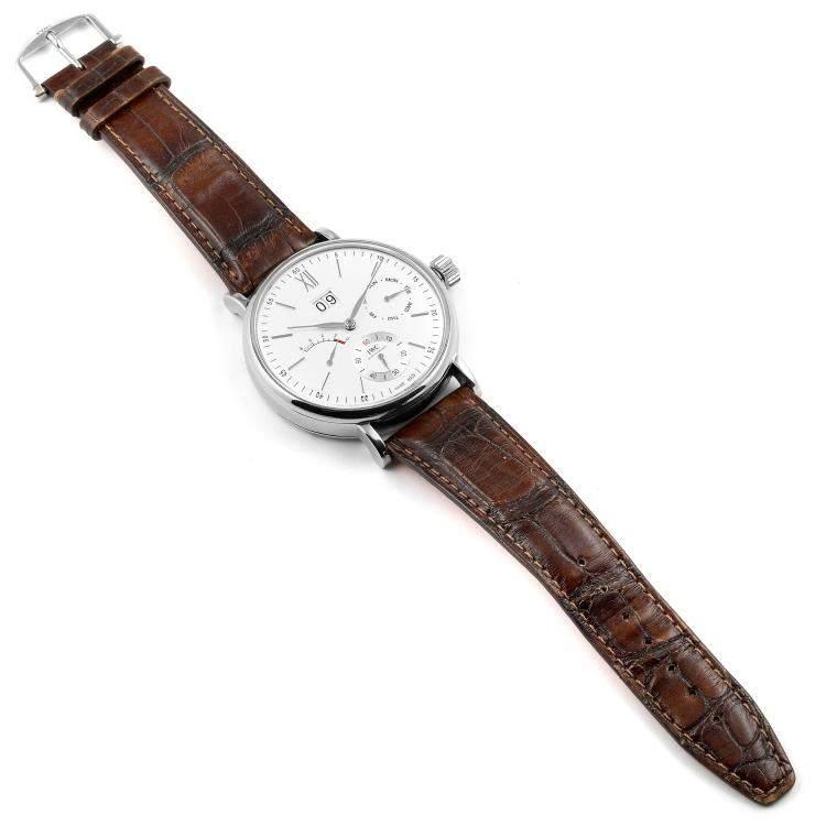 IWC Silver Stainless Steel Portofino 8 Days Power Reserve IW516201 Men's Wristwatch 45 MM