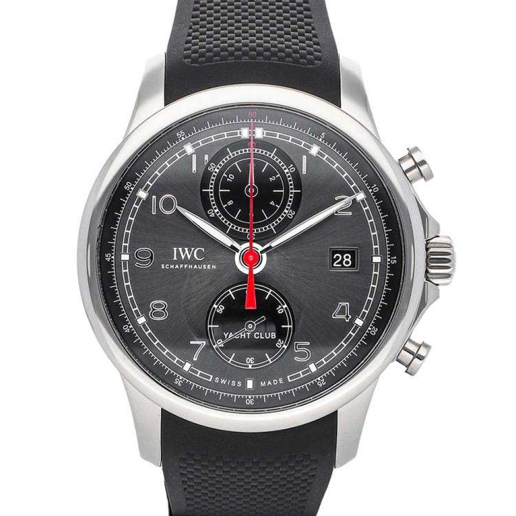 IWC Gray Stainless Steel Portuguese Yacht Club Chronograph IW3905-03 Men's Wristwatch 43.5 MM