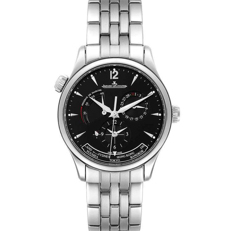 Jaeger Lecoultre Black Stainless Steel Master Geographic 176.8.29.S Q1428171 Men's Wristwatch 39 MM