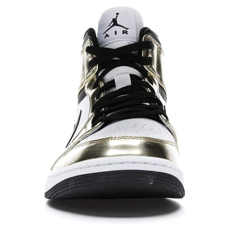 Nike Jordan 1 Mid Metallic Gold Black White Sneakers Size EU 38.5 US 6Y