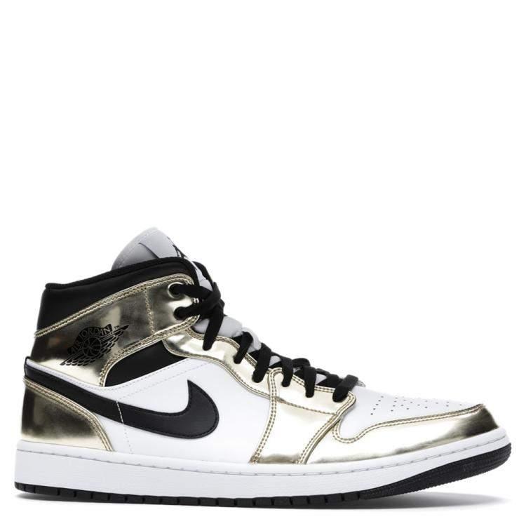 Nike Jordan 1 Mid Metallic Gold Black White Sneakers Size EU 40 US ...