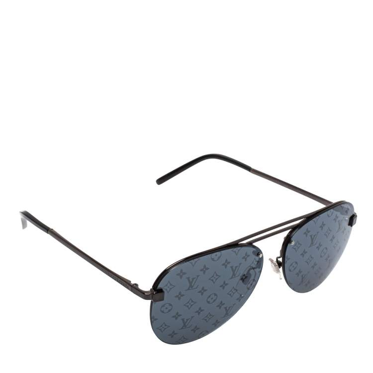 Louis Vuitton Gunmetal Tone/ Dark Grey Monogram Z1019W Clockwise Aviator Sunglasses