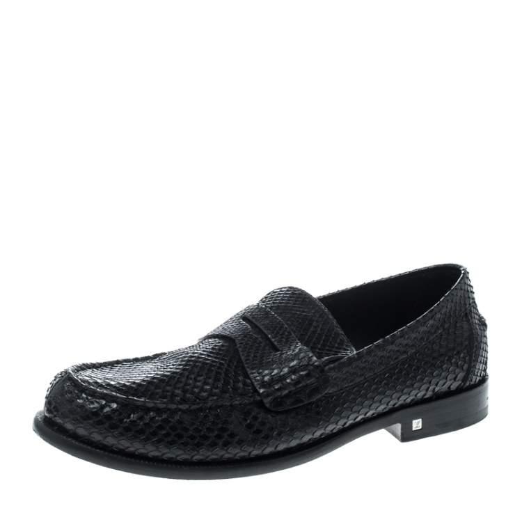 Louis Vuitton Black Python Loafers Size