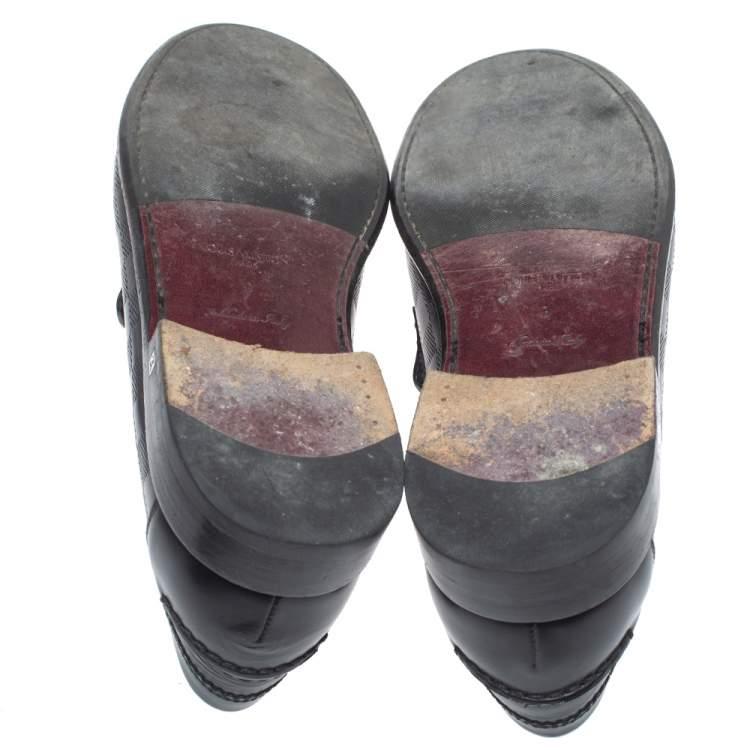 Louis Vuitton Black Leather Damier Infini Hockenheim Loafers Size 43