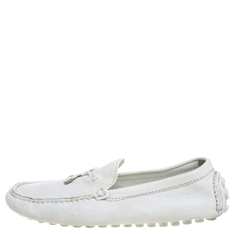 Louis Vuitton White Textured Leather Logo Bow Loafers Size 41