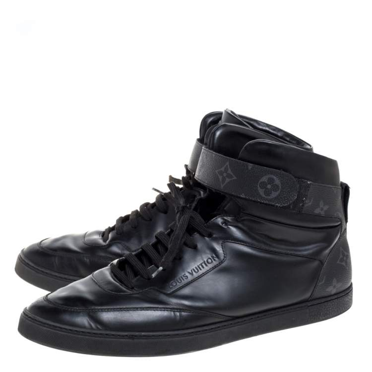 Louis Vuitton Monogram Eclipse Canvas and Leather Passenger High Top Sneakers Size 44