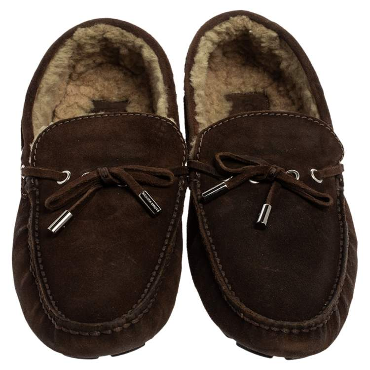 Louis Vuitton Brown Suede Leather Arizona Slip On Loafers Size 42