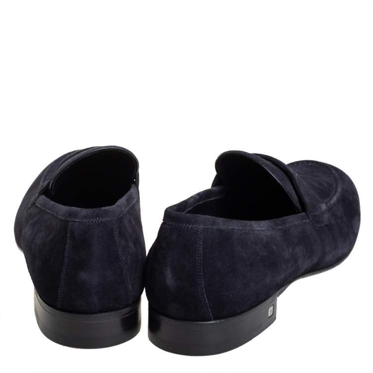Louis Vuitton Navy Blue Suede Leather Penny Slip On Loafers Size 43.5