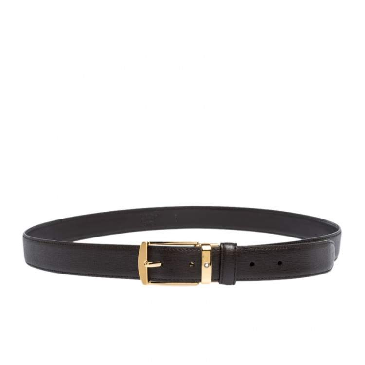Montblanc Brown Leather Pin Buckle Belt 104CM