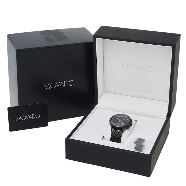 Movado Black PVD Stainless Steel Circa MO.35.1.36.1241 Men's Wristwatch 42 mm