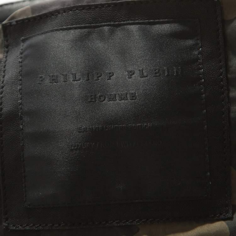 Philipp Plein Black Leather Detail Artemy Biker Jacket 5XL