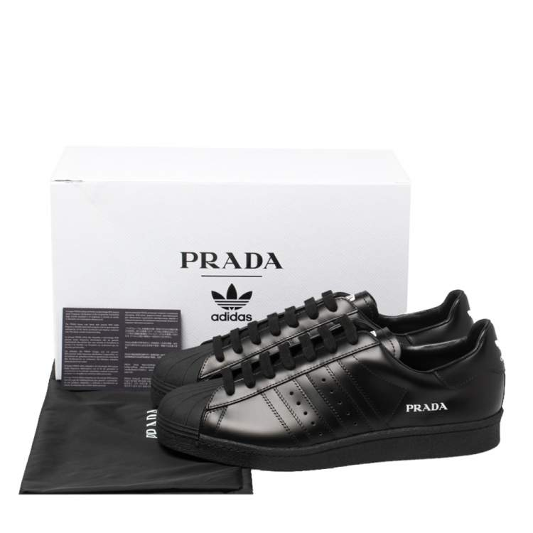 Prada x Adidas Black Leather Superstar Low Top Sneakers Size 45 1 ...