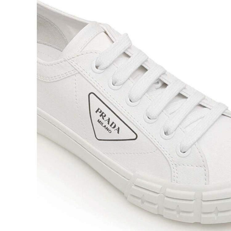 Prada White Gabardine Fabric Wheel Sneakers Size EU 42 UK 8