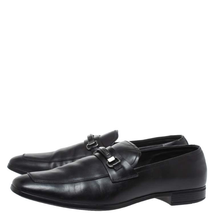 Prada Black Leather Slip On Loafers Size 44