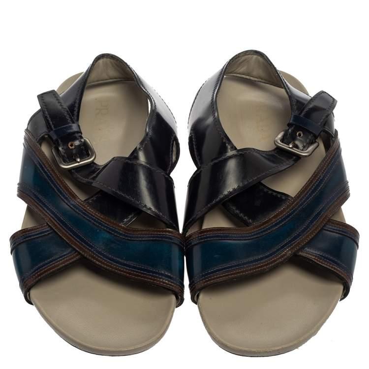 Prada Black/Blue Leather Slingback Slide Sandals Size 43