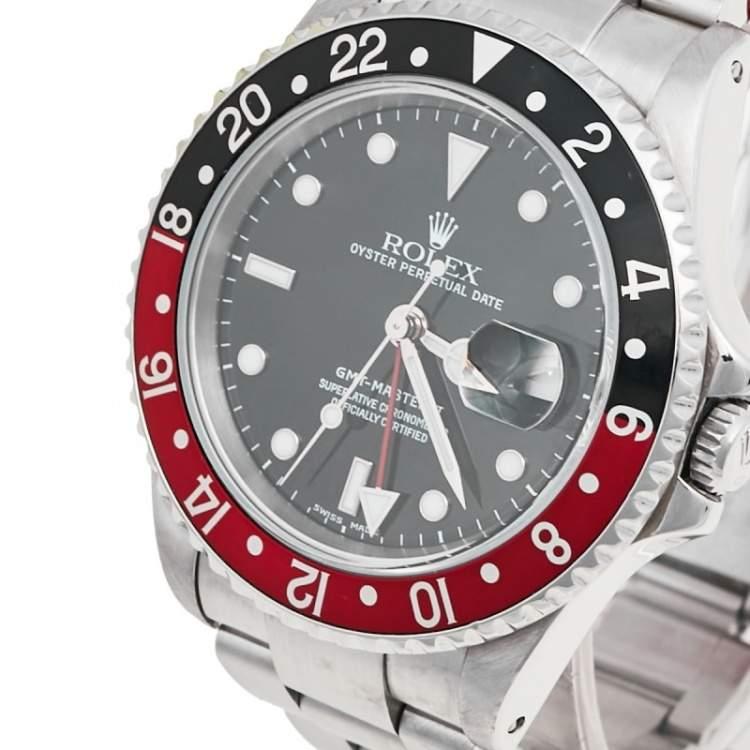 Rolex Black Stainless Steel Coke Edition GMT-Master II 16710 Men's Wristwatch 40 mm