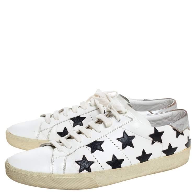 Saint Laurent White Leather Star Court