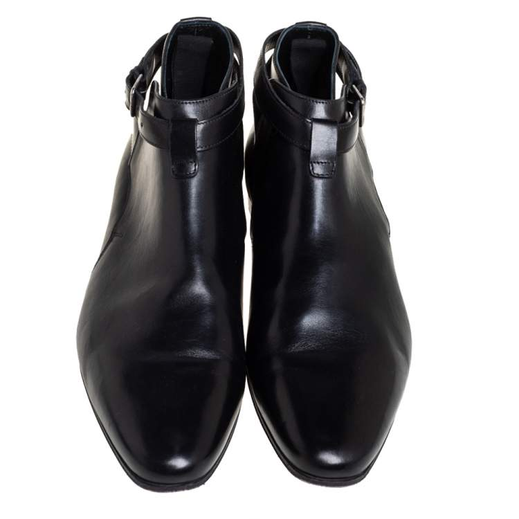 Saint Laurent  Black Leather Army Boots Size 41.5