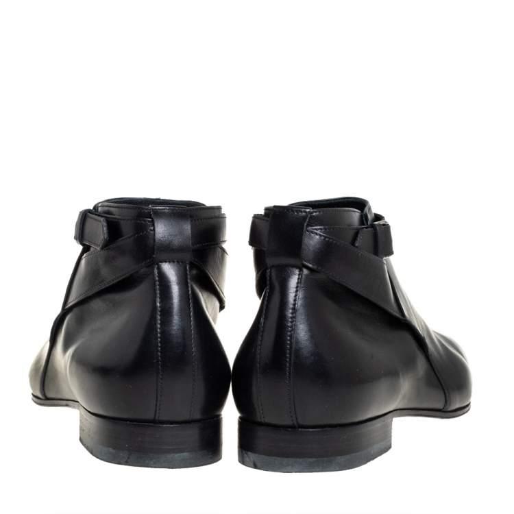 Saint Laurent  Black Leather Army Boots Size 41.5