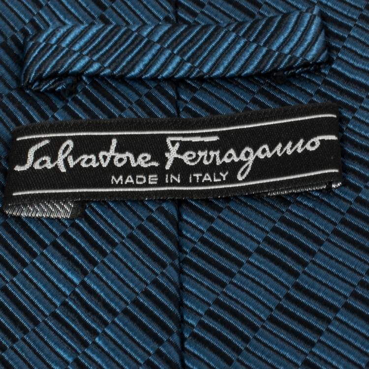 Salvatore Ferragamo Bicolor Diagonal Checkered Silk Jacquard Tie