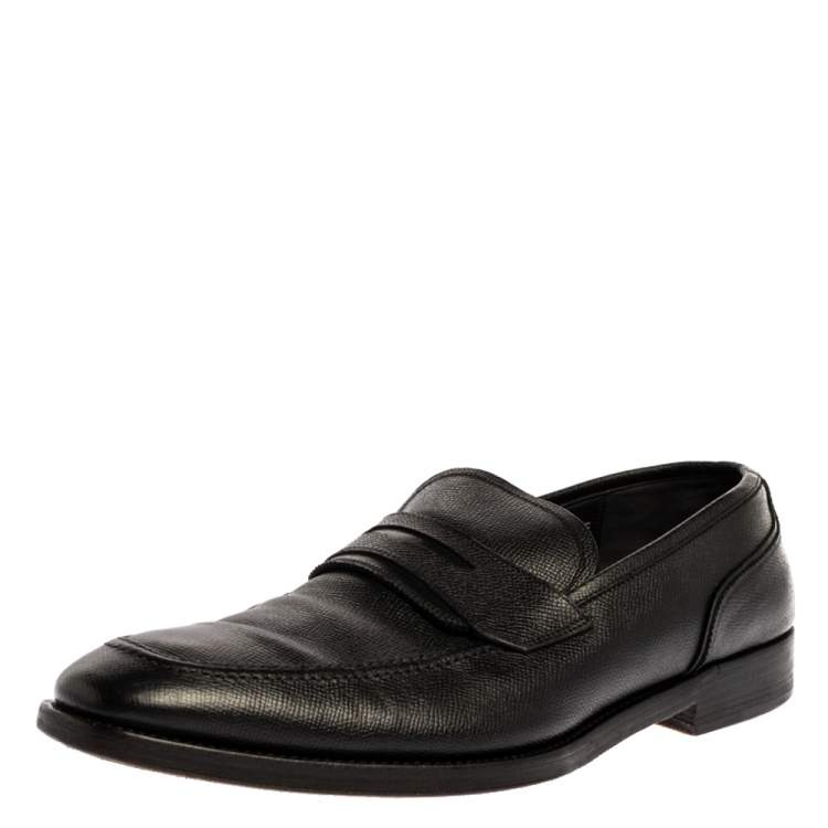 Salvatore Ferragamo Black Textured Leather Penny Loafers Size 44.5