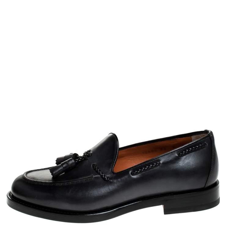 Santoni Grey Leather Tassel Detail Slip On Loafers Size 43.5