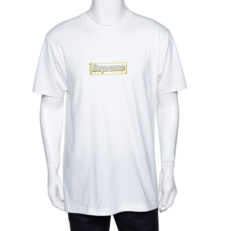 Supreme White Cotton Crystal Logo Print Crew Neck T Shirt L
