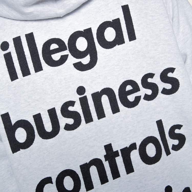 Supreme Light Grey Illegal Business Print Cotton Hoodie L