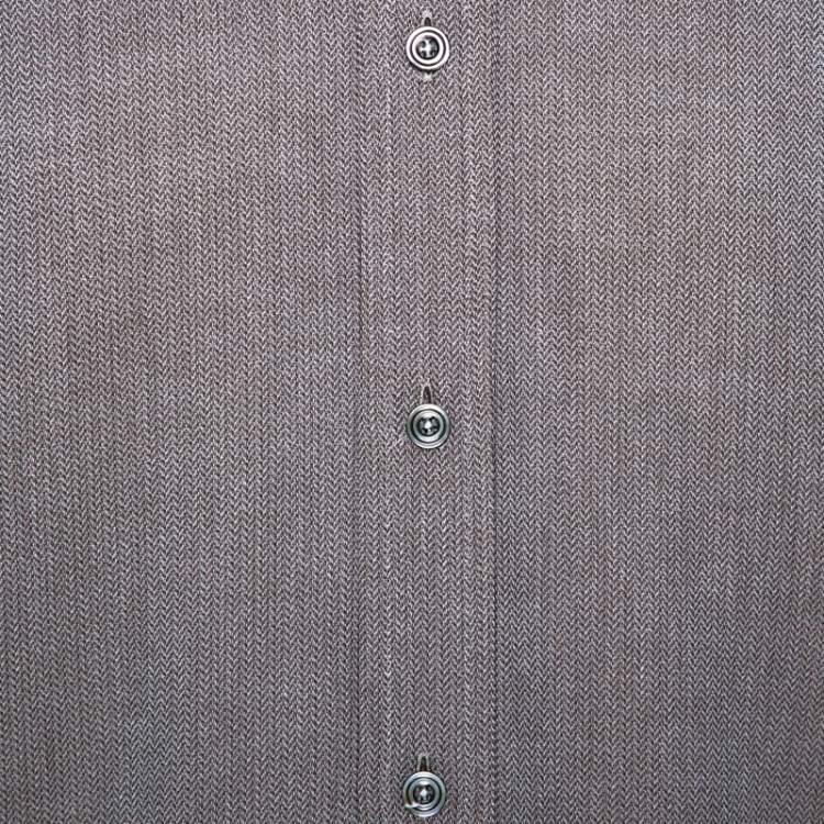 Tom Ford Brown Herringbone Cotton Long Sleeve Shirt XL