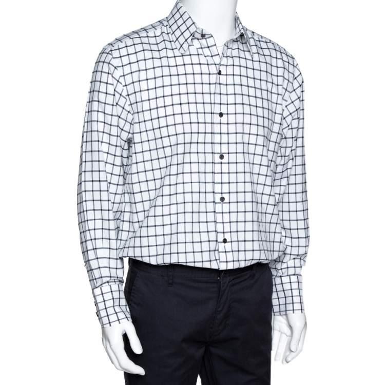قميص توم فورد أكمام طويلة قطن كاروهات أبيض وأسود  XL