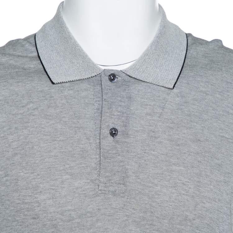 Tom Ford Grey Cotton Blend Pique Knit Polo T-Shirt L