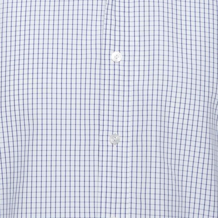Tom Ford White Checked Cotton Su Misura Long Sleeve Shirt XL
