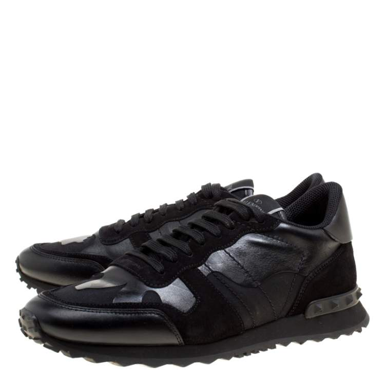 Valentino Black Camouflage Leather and