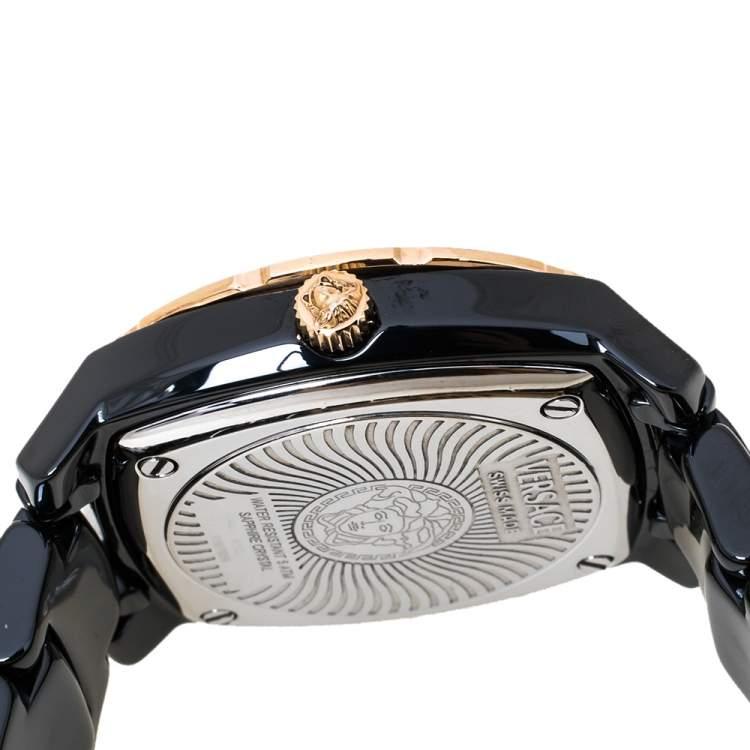 Versace Black Ceramic Rose Gold Stainless Steel Diamonds DV One Glamour 63Q Women's Wristwatch 34 mm