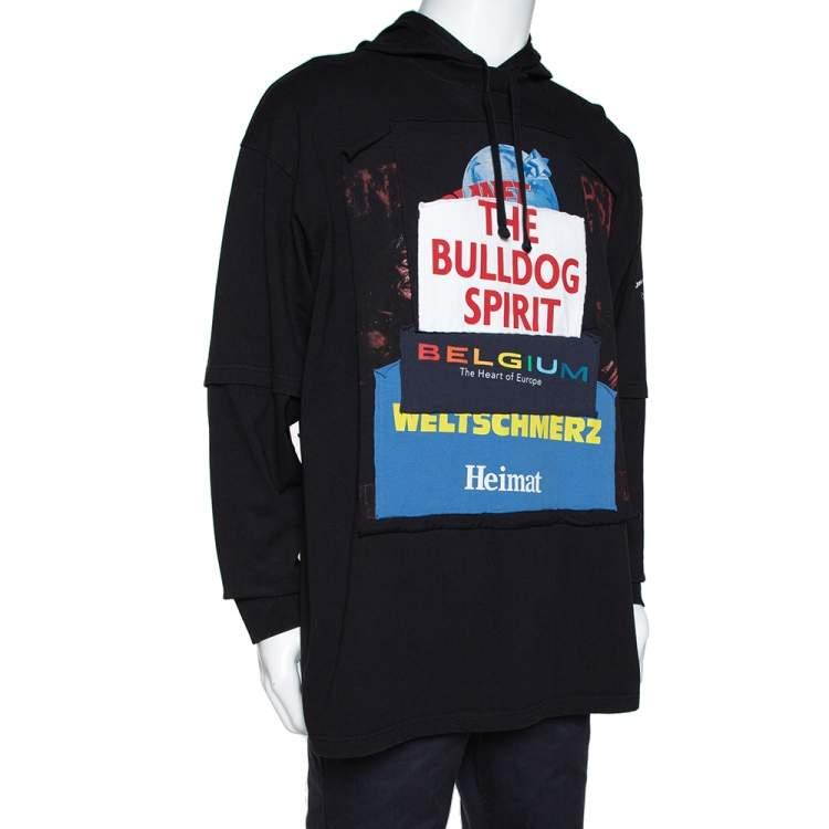 Vetements Black Knit 'Bulldog Spirit' Patchwork Hoodie XS