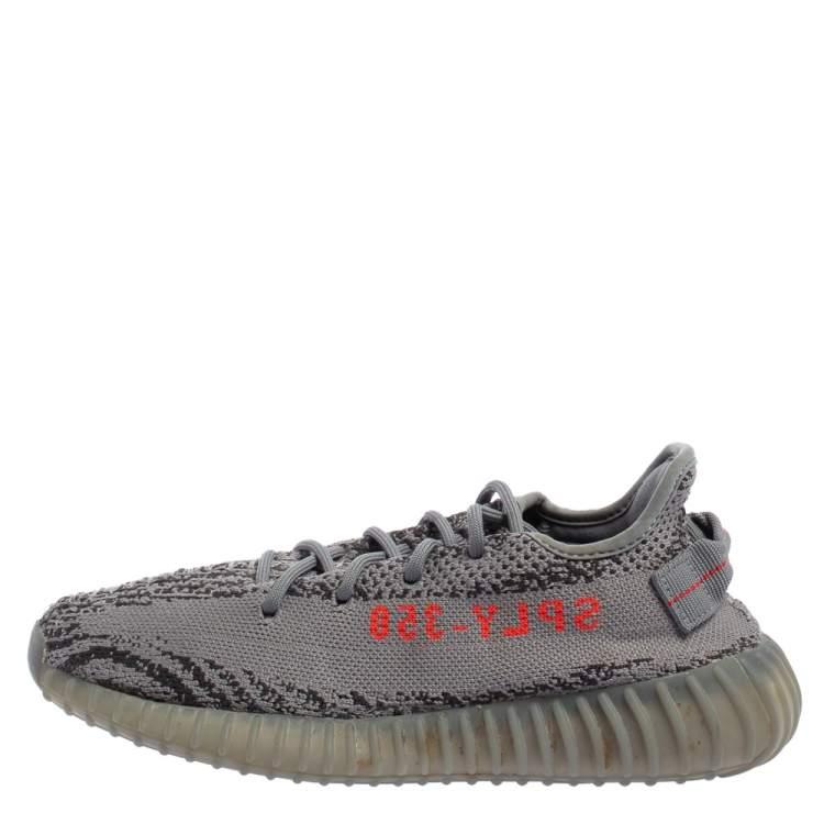 Yeezy x adidas Grey Knit Fabric Boost 350 V2 Beluga 2.0 Sneakers ...